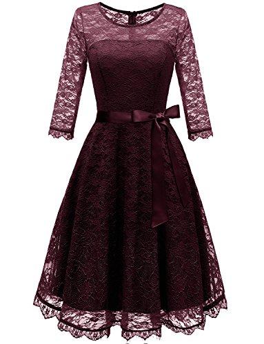 Gardenwed Damen 1950er Vintage Rockabilly Langarm Spitzen Kleid Schwingen Partykleid Cocktailkleid Abendkleider Burgundy S