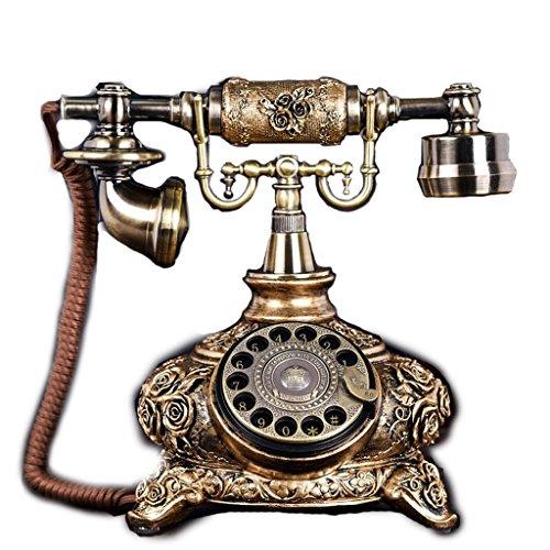 Mobeka quadrante rotante in metallo antico telefono vintage europeo soggiorno camera da letto retro telefono fisso suonerie meccaniche (design : rotating)