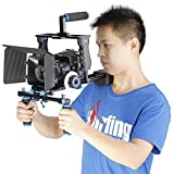 Neewer Aluminum-Kamera Video-Käfig Set Film Making-System für Canon 5D Mark II / 5D Mark III / 700D 650D 600D 550D 500D 450D, Nikon D7200 D7100 D7000 D5200 D5100 D5000 D3300 D3200, Pentax K7 K5 K3 Sony A850, A700, A550 , A450, A77, Olympus E-P3, E-P5, E-PL3 und andere SLR DSLR Kamera Professionell Fotografie mit Universal Hot Shoe und 1/4 Gewinde, umfasst (1) Video Käfig + (1) Oberer Handgriff + (2) 15mm Stangen + (1) Matte Box Höhe + (1) Schärfenzieh + (1) Schulder Anlage