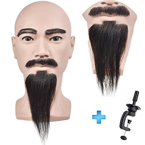 Beard Male - Cabezal de maniquí para hacer pelucas, mostrar pelucas, gafas, sombrero, pines T con abrazadera de mesa