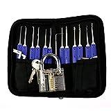 Lockpicking Set, 17-Teiliges Dietrich Set/Pick-Set/Schlossknacken Werkzeug Set mit 1 ransparenten Vorhängeschloss/Sicherheitsschloss Übungsschloss für Anfänger- und Profi-Schlosser
