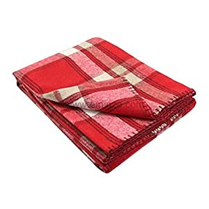 Lovely Casa P15797001 Orcade Plaid Laine/Polyester Rouge 140 x 140 cm