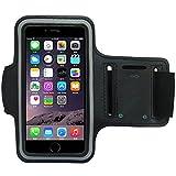 smartacc Sport Jogging Fitness Armband Tasche Passend für iPhone 5, SE, 6, 7, 8, X, Plus, Samsung Galaxy S6, S7, S8, S9, A3, A5, Plus, Edge, UVM. (Schwarz)