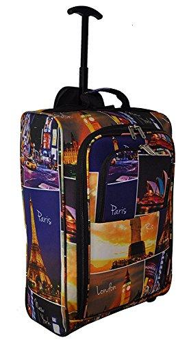 Ryanair Kabinenzugelassenes Handgepäck 55x40x20 & Zweites 35x20x20 Set - Nehmen Sie beide mit! Nacht Städte/ Schwarz