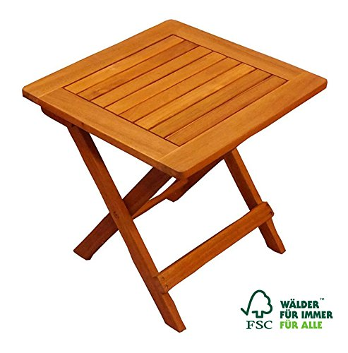 SAM Garten-Tisch 46x46 cm Akazien-Hartolz Massiv, FSC 100%, Beistelltisch, braun, für Balkon, Terrasse, klappbar