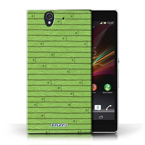 Kobalt® Imprimé Etui / Coque pour Sony Xperia Z / Turquoise conception / Série Motif Bois Vert