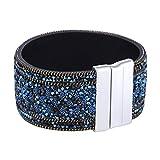 Morella Damen Armband verziert mit Zirkoniasteinen und Magnetverschluss blau