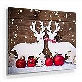 Weihnachten Bild C280, 1 Teil 80x80cm Leinwand auf Holzrahmen aufgespannt, FineArt Print, UV-stabil und wasserfest, Kunstdruck für Büro oder Wohnzimmer, Deko Bild