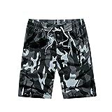 YoungSoul Herren Camouflage Badehose / Surfer Boardshorts / Beachshorts Badeshorts Sommer Strand / Knielang Grau EU XXL / Etikette XXXL