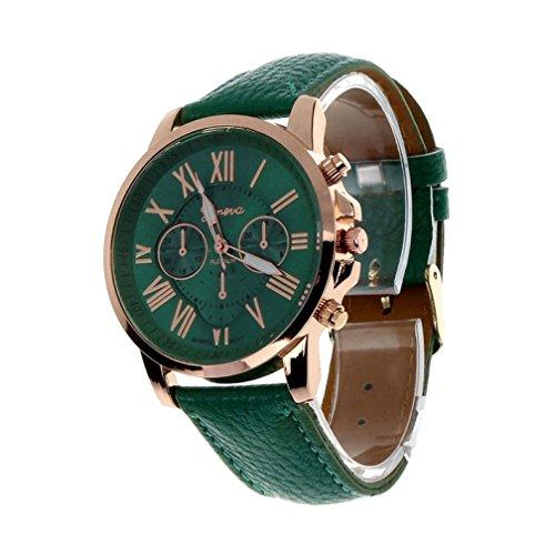 Orologio da polso, jiameng ❀ orologio da donna, orologio da polso da donna analogico al quarzo analogico in pelle sintetica di ginevra (verde scuro)