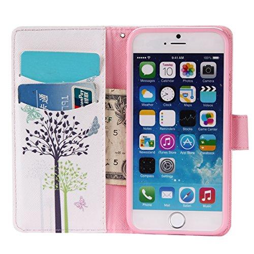 MOONCASE iPhone 6 6S Étui, Conception de Modèle Bookstyle Étui Housse en Cuir Case à rabat Coque de Protection Portefeuille TPU Case avec Carte de Crédit Fentes Béquille pour iPhone 6 / 6S (4.7 inch)  YG11