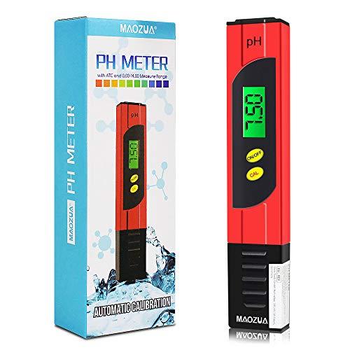MAOZUA PH Messgerät ATC Funktion Wasserqualität Tester mit LCD Display ± 0.01pH Hohe Genauigkeit, 0.00-14.00 Messbereich PH-Meter für Haushalt Trinkwasser Hydroponic Aquarium (Gelb) (Rot)