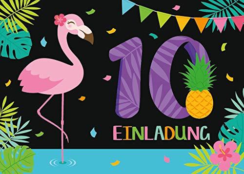 Junaversum 12 Einladungskarten zum 10. Geburtstag Kinder zehnte Kindergeburtstag Mädchen Flamingo