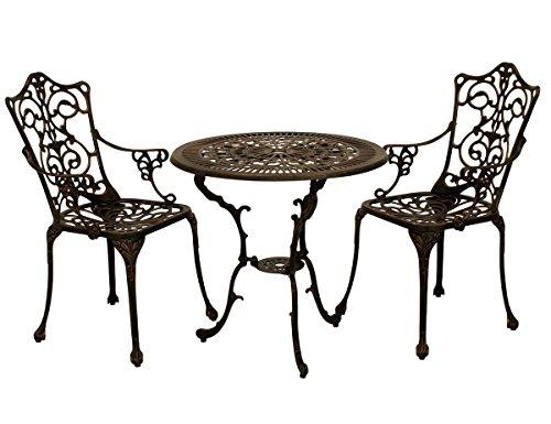Gartengruppe Tischgruppe Tisch Stuhl Garten-Set Aluminiumguss bronze Jugendstil - Bronze Gartenmöbel