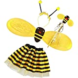 Anbau 4Pc Bumble Bee Honey Girls Kids Fairy Halloween Fancy Dress Up Party Costume
