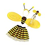 MagiDeal 4Pc Bumble Bee Honey Girls Kids Fairy Halloween Fancy Dress Up Party Costume