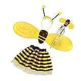 Fenteer Bienen-Kostüm mit mit Flügeln Rock Kopfschmuck Stab Kostüme Bienchen für Fasching Karneval Halloween