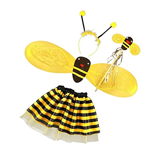 Kostüme Halloween Bumble Bee (4Pcs / Set Princess Mädchen Bienen Flügel + Wand + Stirnband + tutu)
