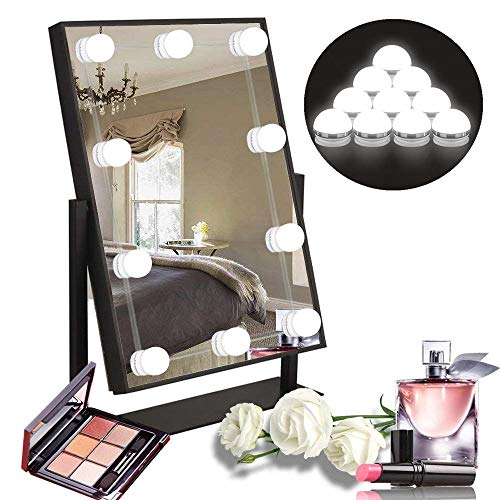 SOLUCKY LED Vanity Mirror Lights Kit, Adjustable Brightness Make Up Lights, 3 Colors&10 Light Bulbs, USB USB Charging Mirror Lights for Makeup Vanity (Mirror is Not Included) -
