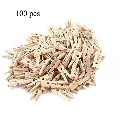 Bois Wood Clip Peg, Hankyky 100pcs Mini Paper Clips Clothespins Craft Art