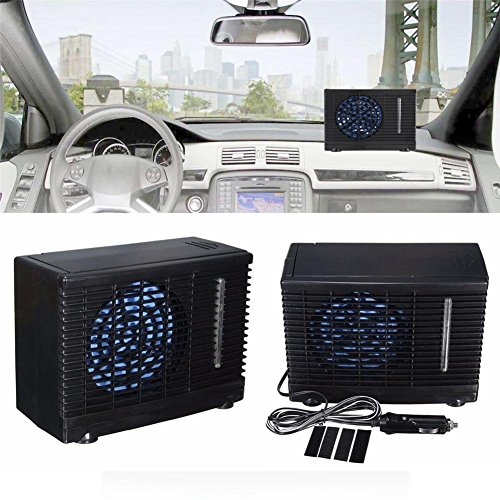 Jweal Tragbar Auto Klimaanlage der Cooling Fan Universal in DC12 V & 35 W – Evaporative Ice Klimaanlage, Schwarz Mini Cooling Conditioner, Kühler Wasser Evaporative Air Fan
