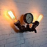 Rishx Lampada da cucina industriale vintage con scaldacollo ed arredamento Vintage Edison E27 Lampada da parete a 2 luci con illuminazione Steampunk Lampada da comodino