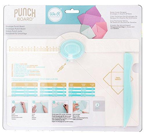 RAYHER HOBBY 57984000 Envelope Punch Board, We R Memory Keepers, Stanz- und Falzbrett für Umschläge aus Papier, Kuverts, in vielen verschiedenen Größen