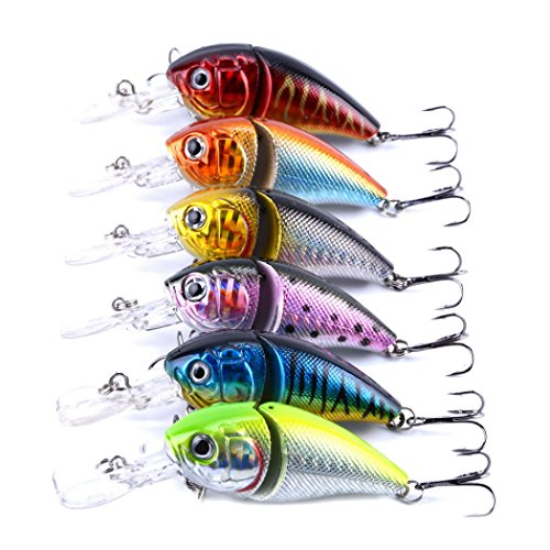 6pcs/lot Pêche Jointed leurres swimbait Crank Bait Crochets Crankbaits Tackle 8.5cm/14g