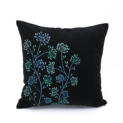 Blaugrün Floral decorativepillow Cover, schwarz Leinen Kissenbezug mit Blau Blaugrün Blumen Stickerei, Textil, Black, Teal Blue, 24 inch x 24 inch - Florale Stickerei Kissen