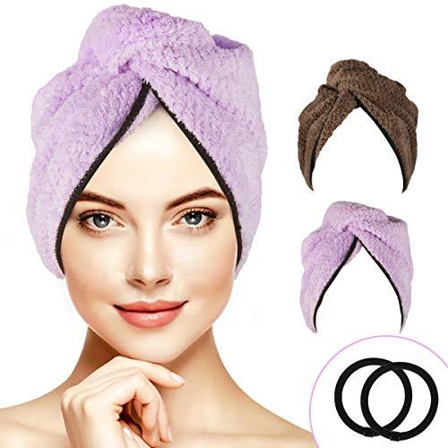 RenFox Haarturban, Kopfhandtuch mit 2 Knopf Handtuch Turban Haartrockentuch Handtücher Haar-Handtuch Haar Trocknendes Tuch Schnell Trocknend und Saugfähig für Alle Haartypen Braun und lila 2 pcs