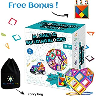 Magnetic Building Blocks for Kids | Educational Toys for Boys and Girls | Magnets Construction Tiles for Children | Build Any Model with these Genius Magnet Kits | 112 Pcs Set