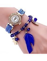 Vycloud (TM) Duoya Marca relojes de cuarzo de las mujeres de la manera popular de la pluma colgante de lujo vestido de se?ora pulsera del reloj de las mujeres Mujer reloj de la correa