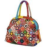 YALUXE Borsa Donna multicolore a fiori in 3D in forma conchiglia borsa a mano primavera borsa a spalla in vera pelle