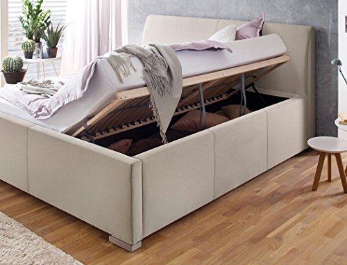 Polsterbett mit Bettkasten Larissa 180×200 beige Doppelbett Lattenrost Ehebett Bettgestell Futonbett Bett