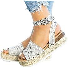 a84ff745a1b Sandalias Mujer Plataformas Verano Cuña Piel 5 CM Tacon Punta Abierta Plana  Tobillo Zapato De Playa