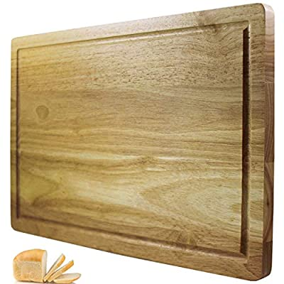 Top Gourmet Wooden Chopping Board/Bread Board with Juice Canal and Crumb Catcher - Big 40cm x 25cm Hardwood Cutting Board - 2 Sided Reversible Serving Board