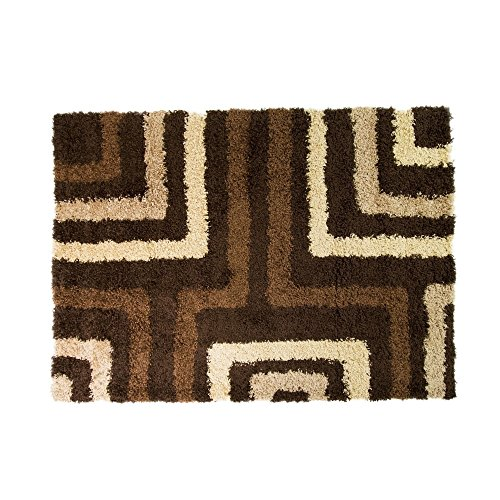 LARGE 5CM HIGH PILE BROWN TIDES DESIGN SHAGGY RUG, 2 SIZES (160 x 230cm (5ft3 x 7ft6) APPROX)