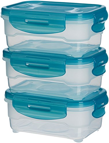 AmazonBasics 3pc Airtight Food Storage Containers Set, 3 x 0.6 Liter