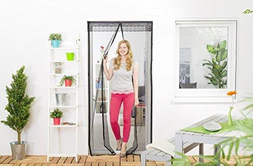 Insektenschutz-Magnetvorhang: Fliegengitter mit Magnetverschluss für Türen bis 100 x 220 cm, doppeltes Moskitonetz in schwarz, verschließt automatisch, mit Klettband zu montieren