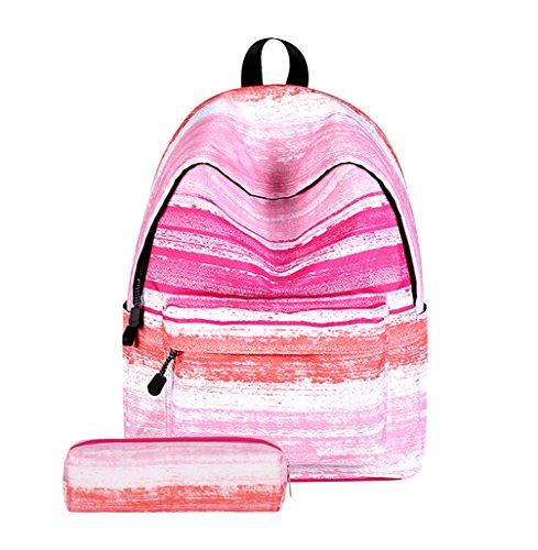 Imagen de  escolar juvenil lona  escolares juveniles para el cole  de colegio  instituto universitarias estuche mujer niña niño vintage  backpack estampada rosa