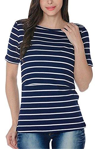 HOOMOLO Damen Sommer Stretch Stillshirt Maternity Stillstop Stilloberteil Stillblusen Kurzarm Shirt Still Tank Tops Streifen Tee T-Shirt - Stretch-wochenende