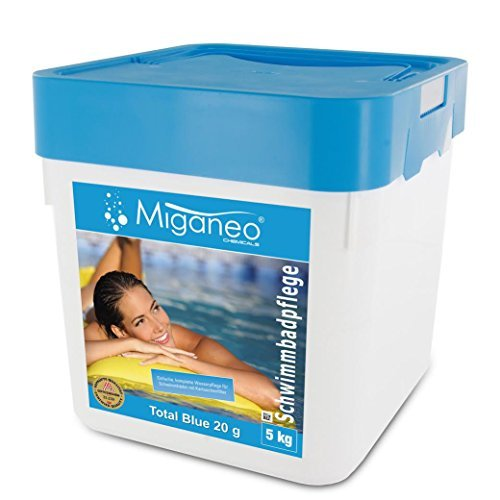 Miganeo® 5 Kg Total Blue Tabs 20g 5in1 Multitabs chlor für Pool Schwimmbad Chlortabs Ph minus Alegezid (5kg) (Chlor Tab)