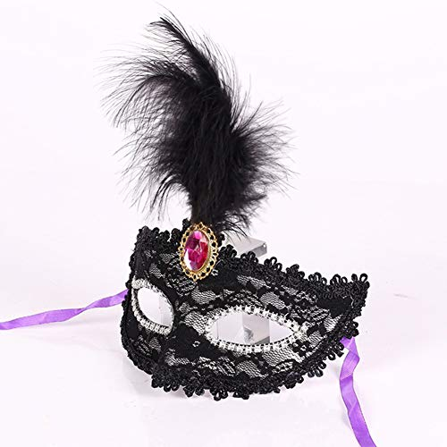 Emorias 1pc Halloween Venecia Máscara de Ojo Mascarada Carnaval Maquillaje Fiesta Misteriosa Máscara - Negro