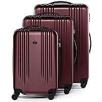 FERGÉ® Set di 3 valigie viaggio MARSIGLIA - leggero bagaglio rigido dure da  3 ABS duro tre pz. valigie con 4 ruote (multidirezionali 360°) rosso 44a69e154c0