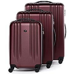 Idea Regalo - FERGÉ® Set di 3 valigie viaggio MARSIGLIA - leggero bagaglio rigido dure da 3 ABS duro tre pz. valigie con 4 ruote (multidirezionali 360°) rosso