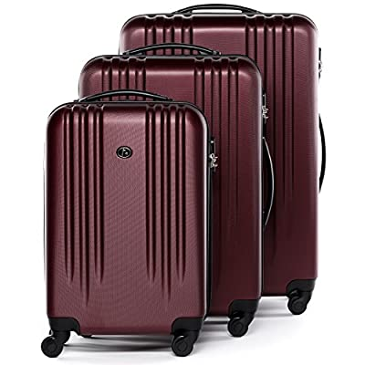 FERGÉ luggage set 3 piece hard shell trolley Marseille suitcase set 4 spinner wheels red - luggage-sets