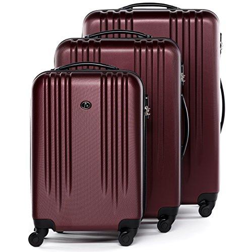 FERGÉ® Set di 3 valigie viaggio MARSIGLIA - leggero bagaglio rigido dure da 3 ABS duro tre pz. valigie con 4 ruote (multidirezionali 360°) rosso