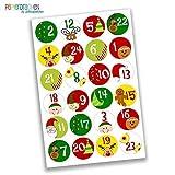 24 Autocollants avec numéro pour Calendrier de l'Avent Motifs colorés Nr 1 - Autocollants - pour créer ou décorer...