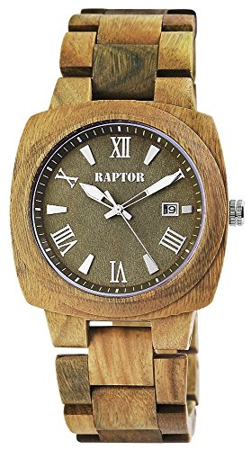 Raptor Herren Armbanduhr Holzband Holzuhr Analog Quarz Olivgrün 298197000009