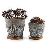 T4U Zement Series Lace Design Sukkulenten Töpfe Kaktus Pflanze Töpfe Mini Blumentöpfe mit Bambus-Untersetzer, 2er Set